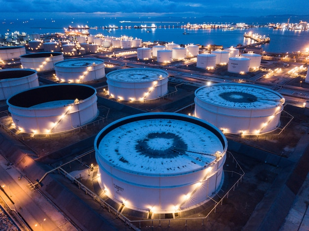 Aerial photographs of oil refineries plants, gas tank, oil tank. Premium Photo
