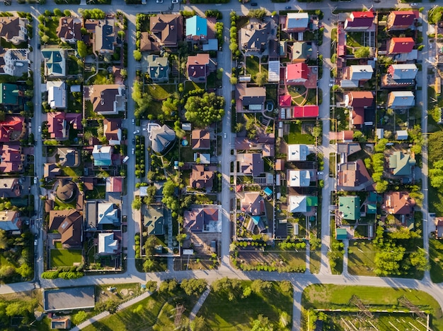 Aerial photography of a a cottage village with colorful houses Premium Photo