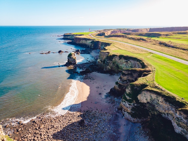 Ripresa aerea di un mare azzurro e limpido e di una riva erbosa Foto Gratuite
