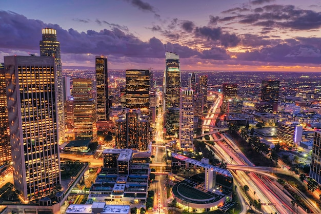 Aerial shot of downtown los angeles at night Free Photo