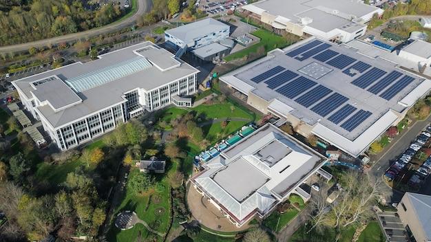 Aerial shot of industrial buildings in bristol, england Free Photo