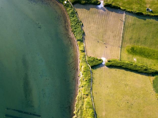 フリート、ウェイマス、ドーセット、英国を撮影したターコイズブルーの海の近くのフィールドの空中ショット 無料写真
