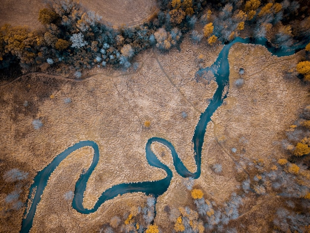 Aerial shot of a river in the middle of a dry grassy field with trees great for background Free Photo