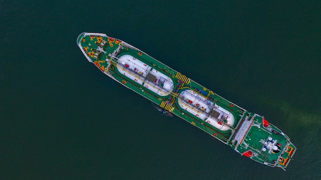 Aerial top view lpg tanker, business logistic import and export oil and gas transportation. Premium Photo