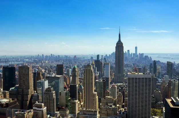 Aerial top view of new york city skyline from above, urban skyscrapers, manhattan cityscape Premium Photo