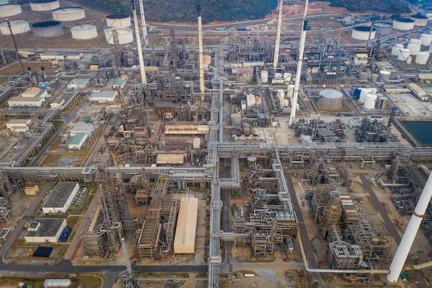 Aerial top view refinery oil petroleum chemical industry business pipeline and storage thanks factory zone Premium Photo
