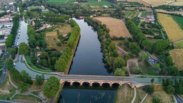 Premium Photo | Aerial top view of river, canal du midi ...