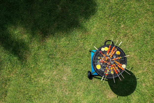 Aerial view of barbecues steaks on the charcoals grill Free Photo