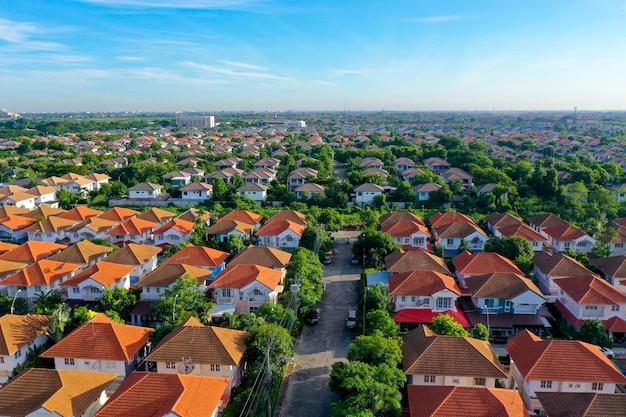 Aerial view of beautiful home village and town settlement Premium Photo