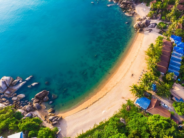 Aerial view of beautiful tropical beach Free Photo