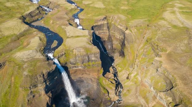 Aerial view of beautiful waterfall haifoss, iceland, summertime Premium Photo