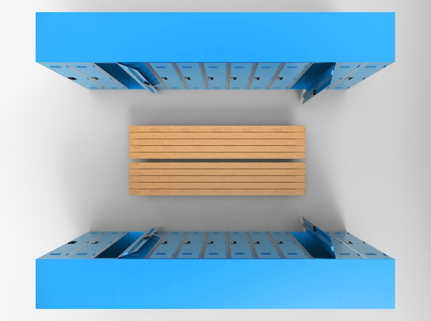 Aerial view of blue lockers rows separated by wood benchs Premium Photo