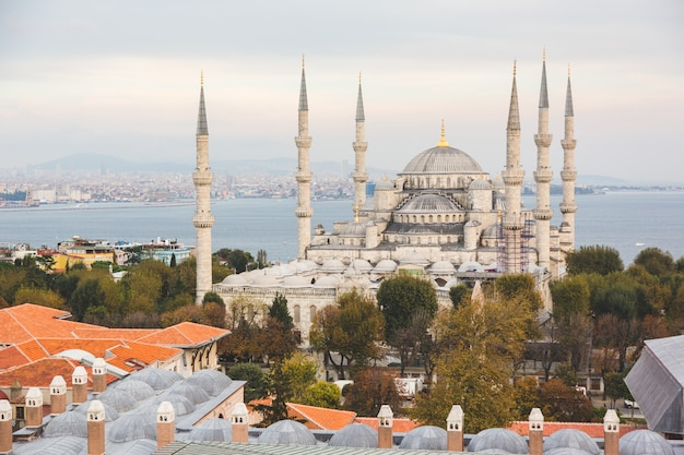 Aerial view of blue mosque in istanbul Premium Photo