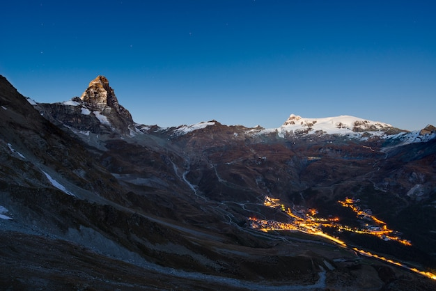 Aerial view of breuil cervinia village glowing in the night Premium Photo