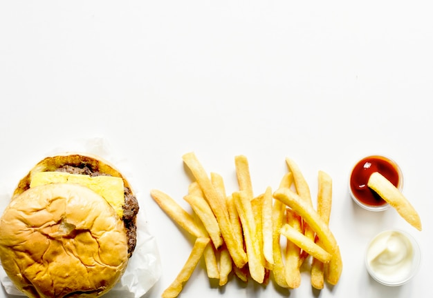 Aerial view of burger and fries fast food Free Photo