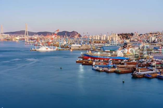 Aerial view of busan harbor bridge and the port of busan in south korea. Premium Photo