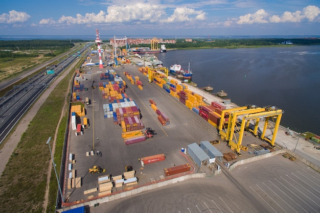 Aerial view of cargo container yard, the port of kronshtadt, russia. 4k Premium Photo