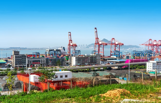 Aerial view of a cargo dock Premium Photo
