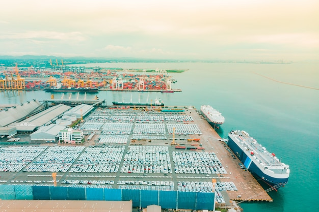 Aerial view cargo ship of business logistic sea freight Premium Photo