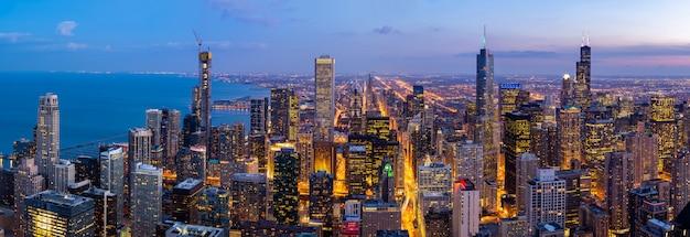 Aerial view of chicago skylines south panorama Premium Photo