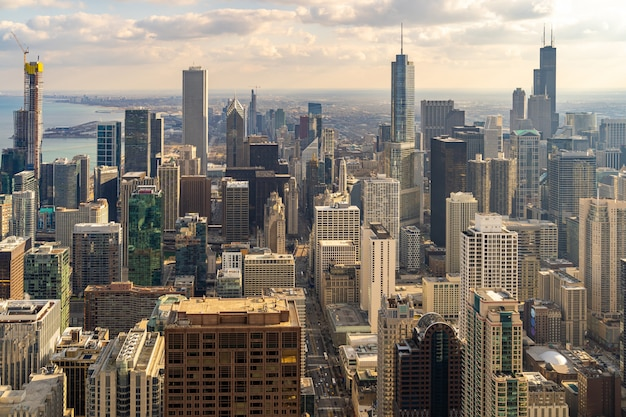 Aerial view of chicago skylines south sunset Premium Photo