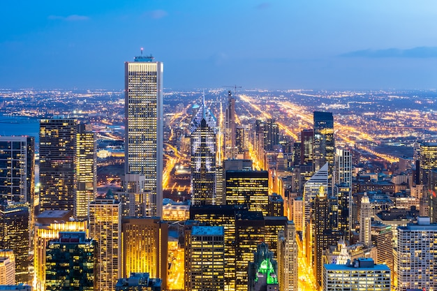 Aerial view of chicago skylines south Premium Photo
