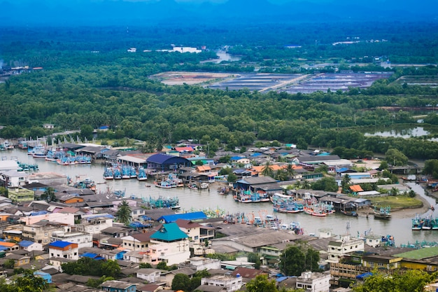 Aerial view of chumphon city from view point. Premium Photo