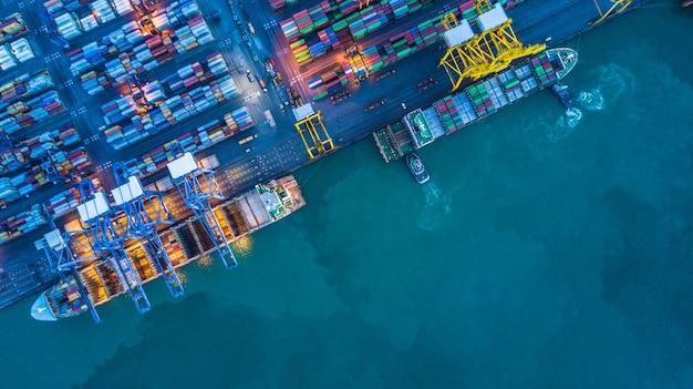 Aerial view of container cargo ship Premium Photo