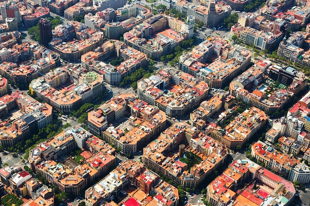 Aerial view  of  eixample  district. barcelona,  spain Free Photo