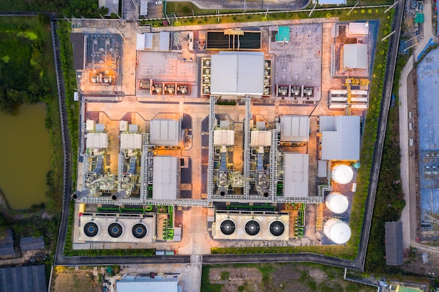 Aerial view of electricity power plant in city at night. Premium Photo