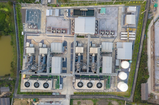 Aerial view of electricity power plant in city Premium Photo