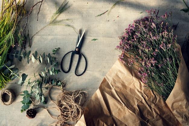 Aerial view of fresh flower arrangement Free Photo