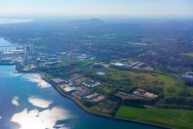 Aerial view from airplane window over edinburgh Premium Photo