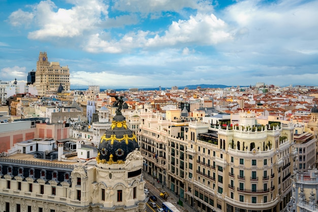 Aerial view of gran via, main shopping street in madrid, capital of spain, europe. Premium Photo