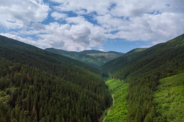 Aerial view green grass summer mountain in mountains. Premium Photo