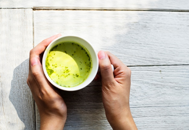 Aerial view of green tea drink Free Photo