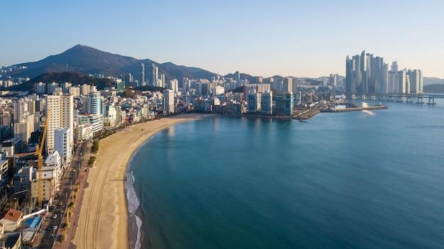 Aerial view of gwangan bridge in busan city, south korea Premium Photo