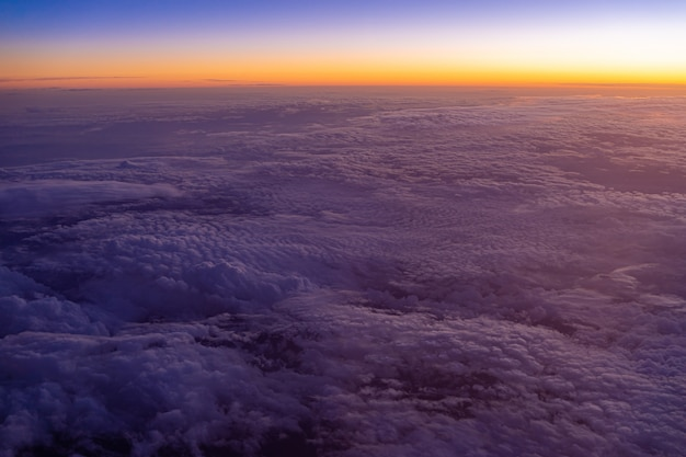 Aerial view of high altitude clouds during sunset Premium Photo