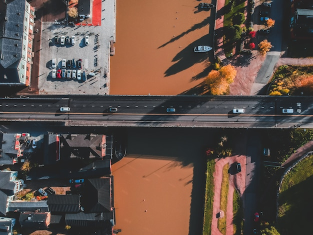 Aerial view of the historic center of the city, the road bridge over the river porvoonjoki Premium Photo