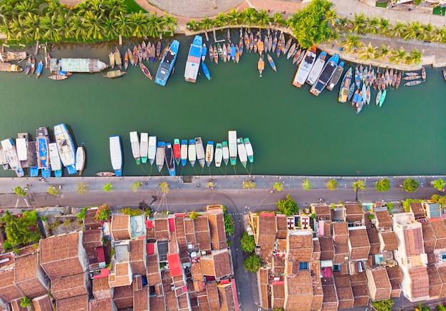 Aerial view of hoi an ancient town in vietnam Premium Photo