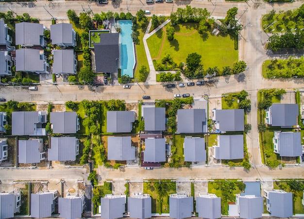 Aerial view of home village in bangkok thailand Premium Photo