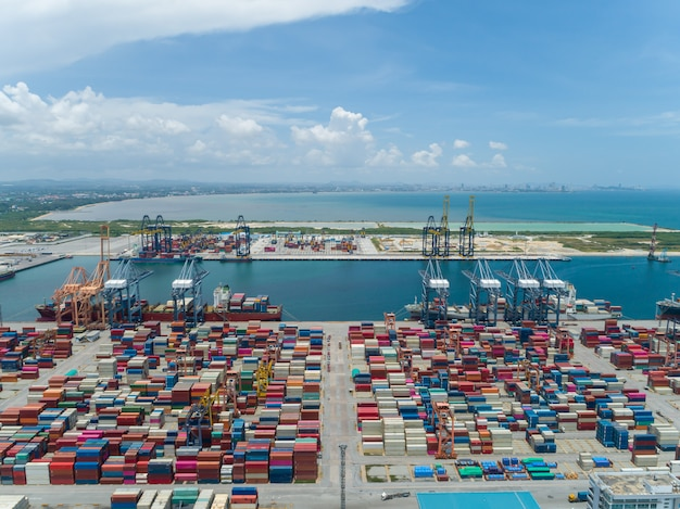 Aerial view of the industrial port with containers Premium Photo