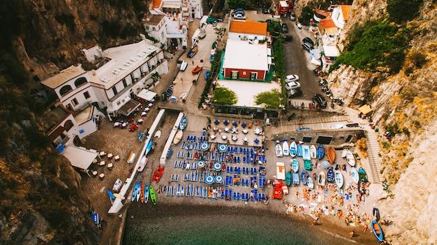 Aerial view of italian holiday island capri with beautiful nature Premium Photo