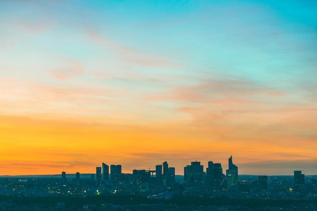 Aerial view of la defense in paris at sunset Premium Photo