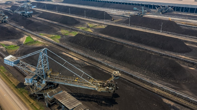 Aerial view large bucket wheel excavators in a lignite mine. Premium Photo