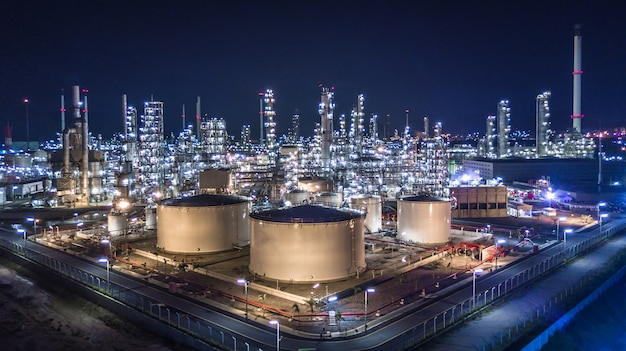 Aerial view of large oil refinery Premium Photo