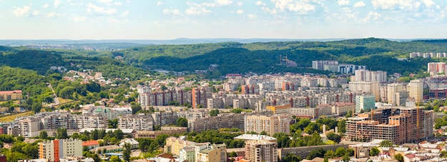 Aerial view of lviv city. panorama with modern buildings and urban space. Premium Photo