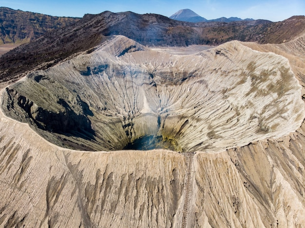 Aerial view majestic mount crater volcano, kawah bromo Premium Photo