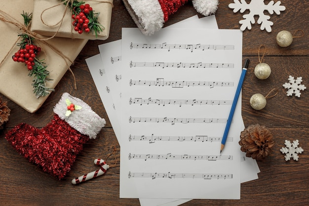 Essential Christmas Decorations.Aerial View Of Merry Christmas And Music Background Concept