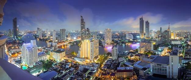 Aerial view of midtown in thailand city with skyscrapers, buildings centers. Premium Photo